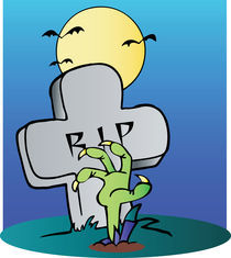 Green Zombie Hand Reaching Up From The Earth In Front Of A Tombstone  by hittoon