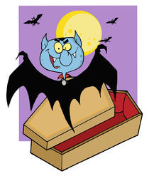 Happy Vampire Out Of The Coffin And Bats Near A Full Moon  by hittoon