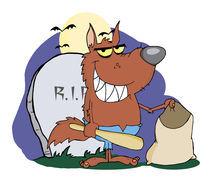 Smiled Werewolf Holding Club And Bag A Full Moon  von hittoon