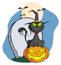 Halloween Cat on Pumpkin Near Tombstone And Bats A Full Moon  by hittoon