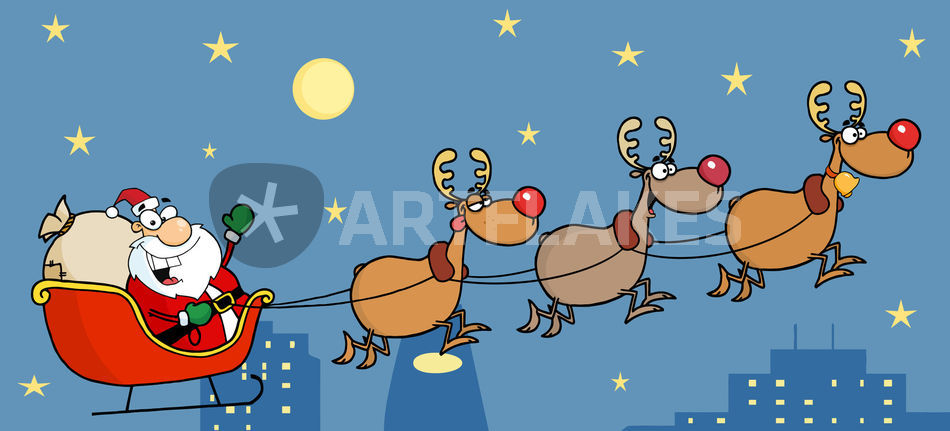 Free Reindeer Clipart - Santa On Sleigh Cliparts , Free Transparent Clipart  - ClipartKey