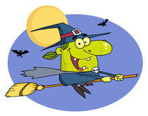 Wicked Halloween Witch Flying By Bats And A Full Moon On A Broom Stick  by hittoon