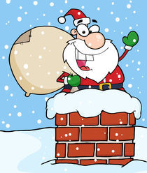 Santa Claus In Chimney Waving  by hittoon