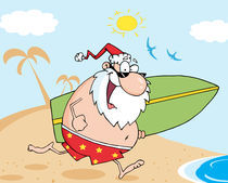 Santa Running On A Beach With A Surfboard  by hittoon
