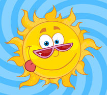 Happy Sun Mascot Cartoon Character With Shades  by hittoon