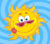 Happy Sun Mascot Cartoon Character With Shades  von hittoon