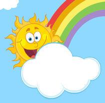 Happy Sun Mascot Cartoon Character Hiding Behind Cloud And Rainbow  von hittoon