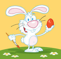 Cartoon Happy White Rabbit Painting Easter Egg  by hittoon