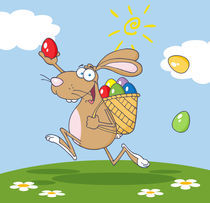 Happy Brown Easter Rabbit Running With A Basket And Egg Background  by hittoon