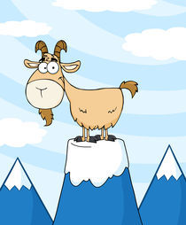 Goat Cartoon Character On Top Of A Mountain Peak  by hittoon
