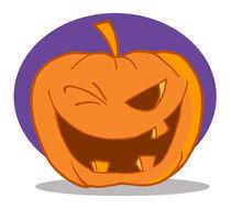 Halloween Pumpkin Character Winking  by hittoon