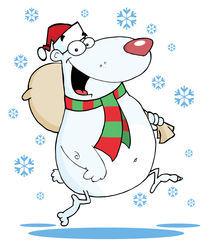 Cartoon Christmas Bear Runs With Bag  by hittoon
