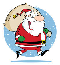 Happy Santa Claus Runs With Bag  by hittoon