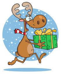 Happy Reindeer Runs With Bag In Snow  von hittoon