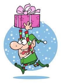 Cartoon Santa's Elf Runs With Gift  von hittoon