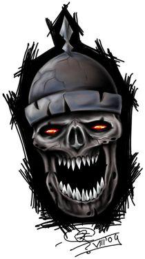 skull with helmet by Robert Franke