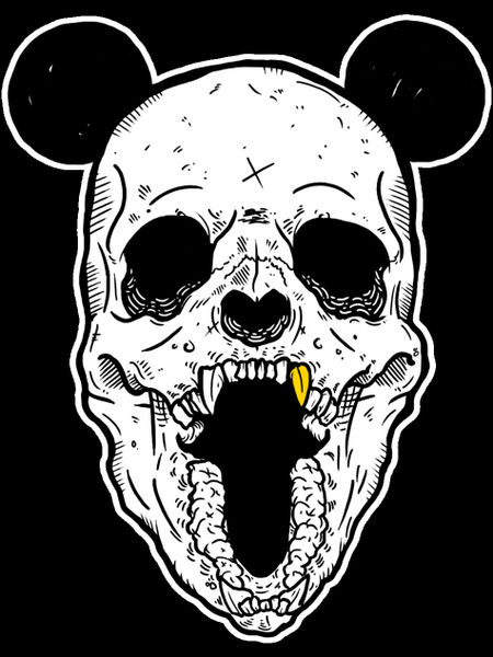 panda skull x gold fang graphic illustration art prints and posters by kdot panda artflakes com. Black Bedroom Furniture Sets. Home Design Ideas
