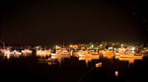 Lobster Boats in Harbor at Night by John Greim