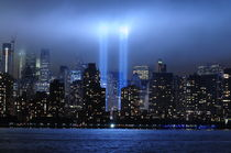 Tribute in light across the Hudson by Ronnie Peters