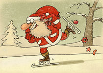 Santa is skating on ice with gingerbreads in sack von Gatis Sluka