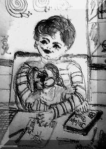 Junge mit Kuscheltier am Tisch  von Kerstin Schuster