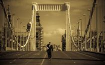 Budapest, Hungary. Man on the Bridge von Laszlo Katona