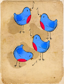 Four Robins Singing by Imogen  Henlich