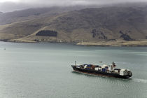 Container ship in Lyttenton bay, New Zealand by michal gabriel