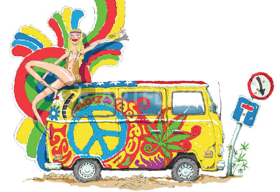 Hippie Drawing Art Prints And Posters By Igor Nikolaenko