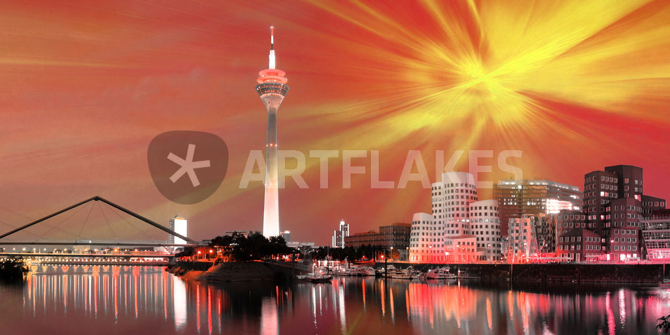 d sseldorf skyline bild als poster und kunstdruck von st dtecollagen lehmann bestellen. Black Bedroom Furniture Sets. Home Design Ideas