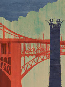 Eads Bridge and the Casino Queen by Michael Hirshon