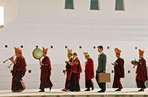 Buddhist procession and modern man  by michal gabriel