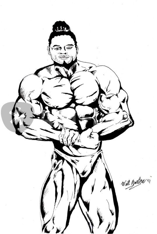 Kai greene pose 2 drawing art prints and posters by will for Kai greene painting