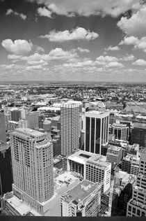Modern city under cloudy sky