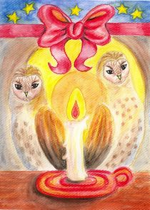 Barn Owls in Candlelight by Katri Ketola