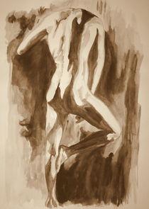Akt - Mann stehend - Sepia by Susanne Edele