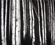 Birches at Night by Christina Schwartzman