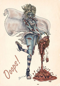 Zombie Pinup: Ooops! by Thomas Green