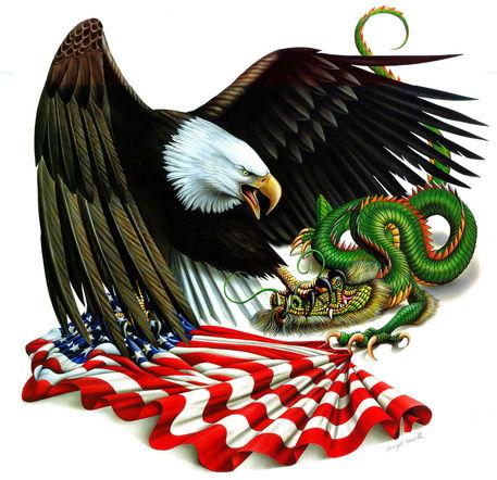 "Eagle Vs Dragon Drawing ""American Conflic..."