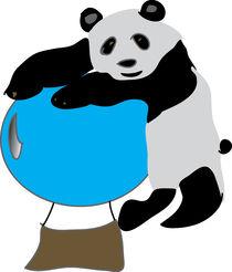Panda On Balloon.  by Dakota Brown