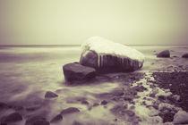 Stein mit Schnee im Wasser von dresdner