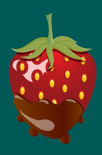 Chocolate Covered Strawberry With Teal Background by Dakota Brown