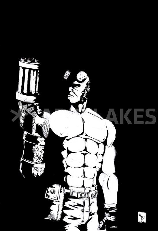 Hellboy And His Gun Drawing Art Prints And Posters By Will Burton