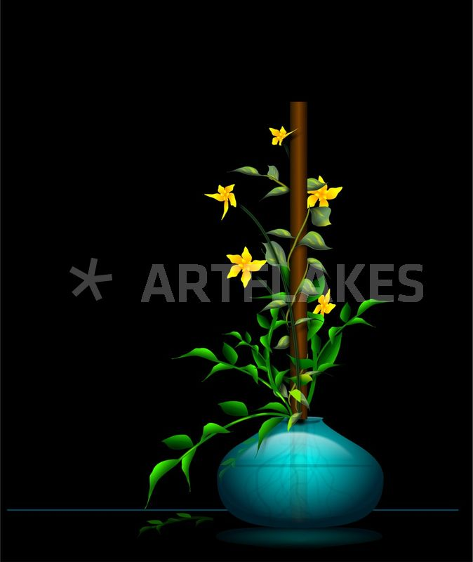 Teal Vase With Yellow Flowers Digital Art Art Prints And Posters By