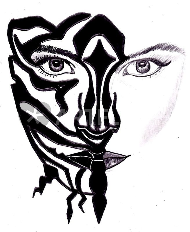 Zebra Face Drawing Art Prints And Posters By Laura Seed Artflakes Com