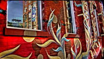 Mural in Dumbo. reflection in window by Maks Erlikh