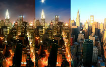 New York Art Print - Skyline Trinity - Night To Day von temponaut
