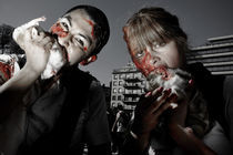 Zombies eating hurons by pasz