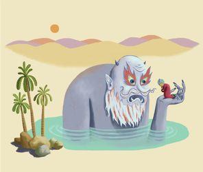 Merchant-genie-oasis-desert