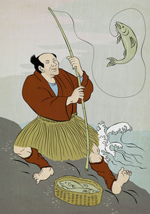 Fisherman-japanese-catch-trout-color-texture
